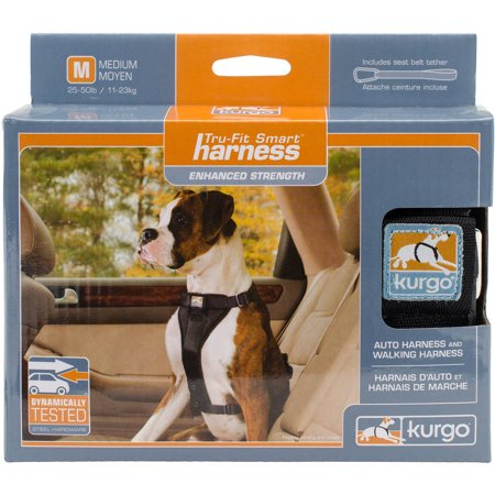 Kurgo Tru-Fit Harness- Auto & Walking Harness, Medium 25-50 lbs, Black