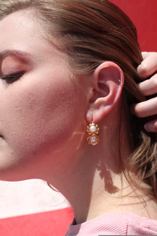 Daffodil Pearl Hoop Earrings
