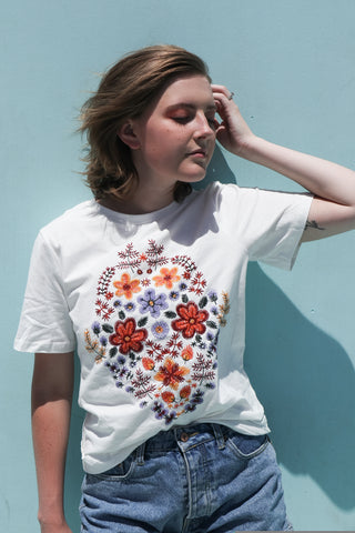 Sweet Flower Embroidered Tee