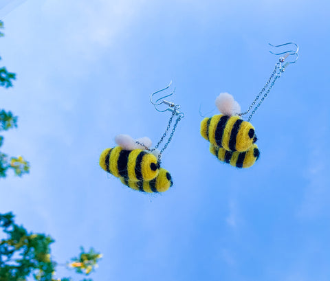 Baby Bumblebee Felt Earrings