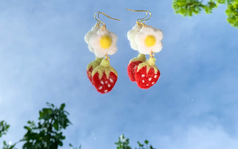 Strawberry Fields Felt Earrings