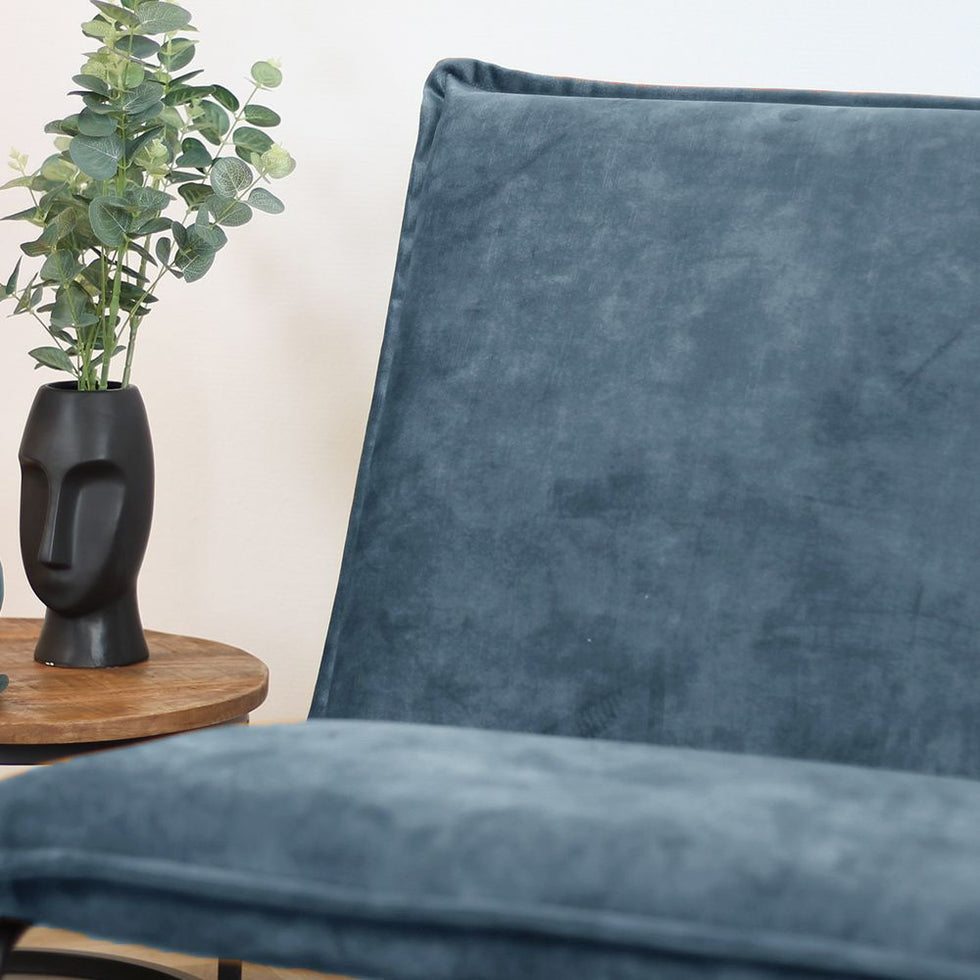 Samt Sessel Dante Luxury Blau