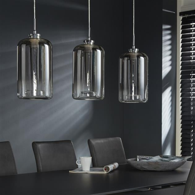 Hängelampe Silas 3-flammig Glas metallic grey finish