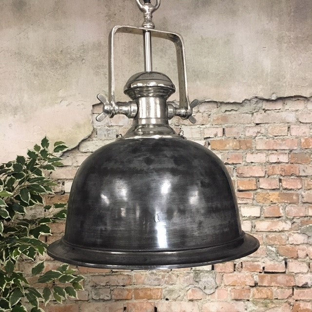 Industriële hanglamp Finn Raw nickel Ø46