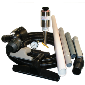 "Drum Empty or Fill Kit; 10' x 1 1/2"" Hose, Two 19"" Pick-up Wands, 2"" Cam and Plug drum adapter, Liquid Drain Tube, Crevice Tool, Skimmer, Squeegee, Pressure Guage and On/Off Valve"