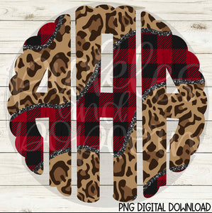 Buffalo Plaid And Leopard Scalloped Alpha - DIGITAL DOWNLOAD