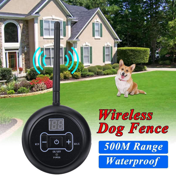 500m Pet Dog Wireless Electric Fence Containment System Signal Transmitter Dog Training Collar with Vibrating Electric Shock