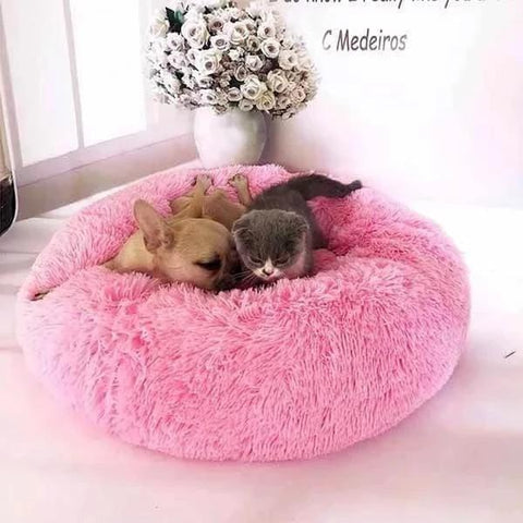 Best Cat & Dog Beds Calming Fluffy Vegan Round Cuddling Furry Anxiety Relieving Burrowing