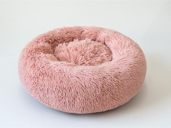 Donut Cat Bed Faux Fur Dog Beds - Self Warming Round Pillow