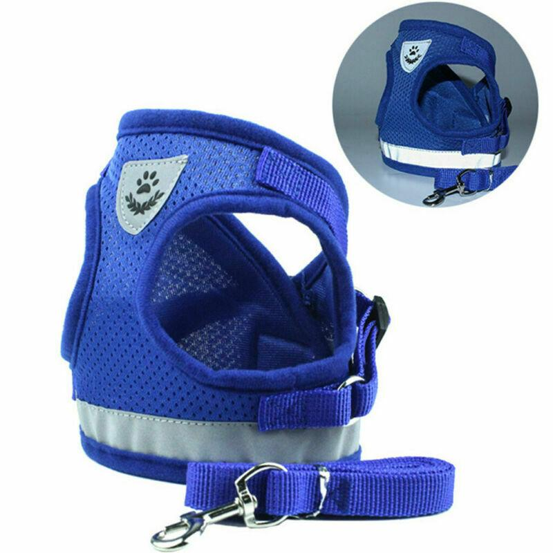Reflective Safety Pet Dog Cat Harness Leash Set Vest Chest Strap