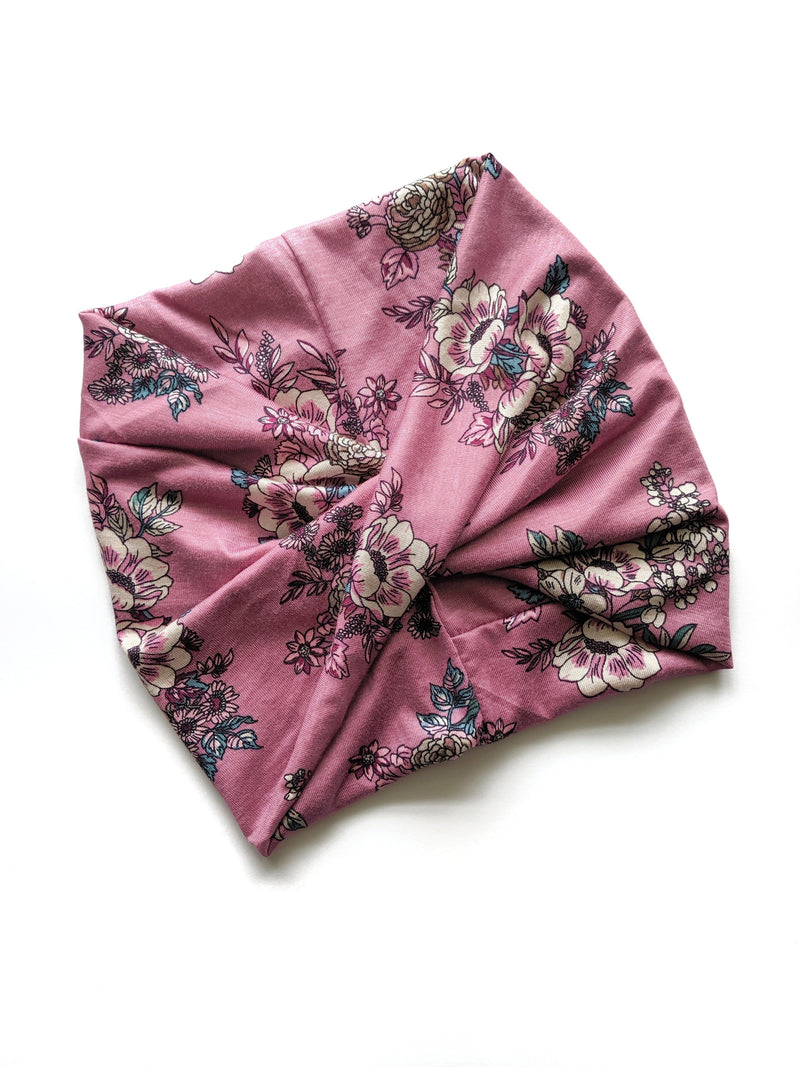 Crunchylove's Dusty mauve Floral wide headband - Fizzypopization