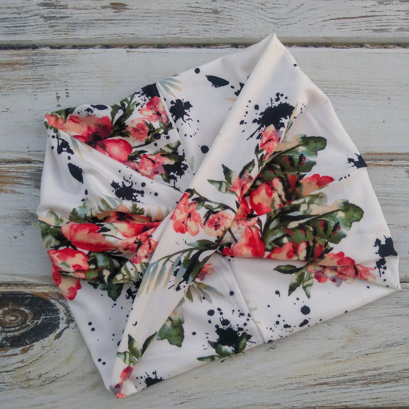 Inky Floral wide headband - Fizzypopization