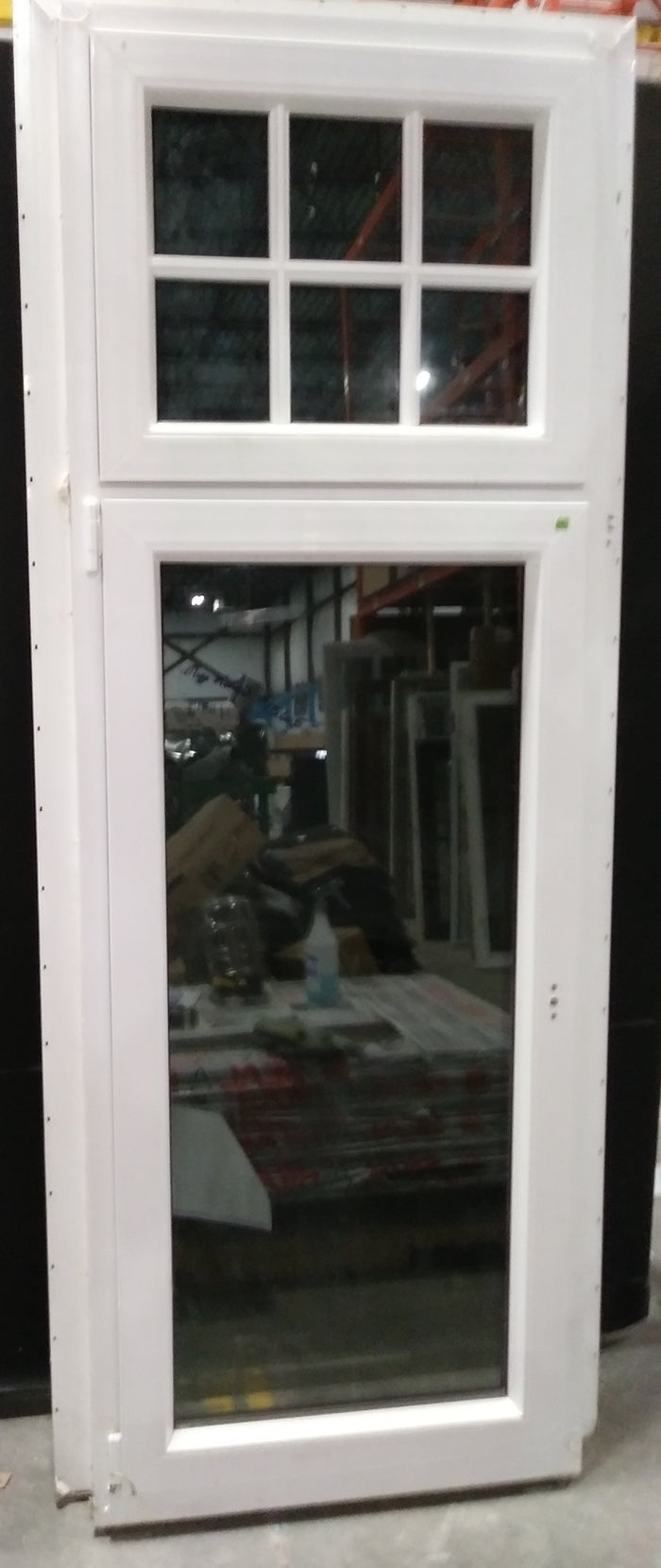 "Tall White and Grey Casement Window with Transom Light (33"" X 85"")"