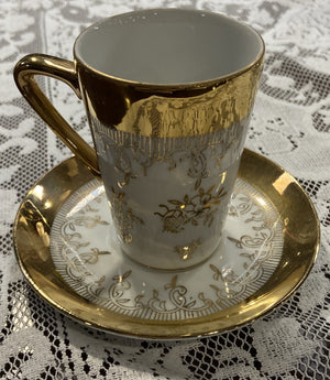 Six Piece Gold Trim Dish Set with Tea Pot, Cream and Sugar Dishes