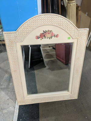 Floral Wicker Frame Mirror
