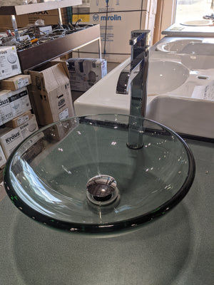 "Kräus Clear 14"" Glass Vessel Sink with Tap,  Drain, and Mounting Ring"
