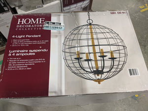 Four Bulb Orb Cage Pendant Light