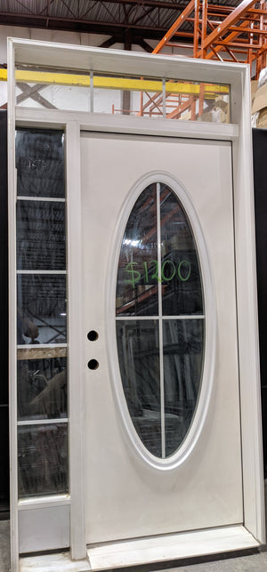 "White Entrance Door With Sidelight and Round Insert (47.25"" x 94"")"