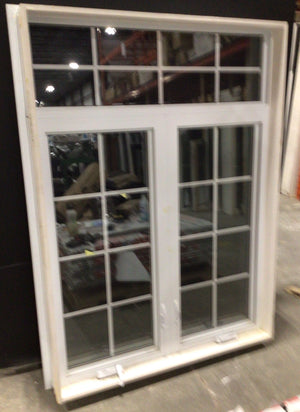Large Fixed White and Taupe Vinyl Window (59x69)