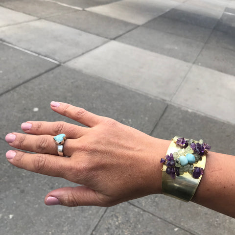 Cuff featuring Larimar, Amethyst and Green Garnet created by Amy Delson