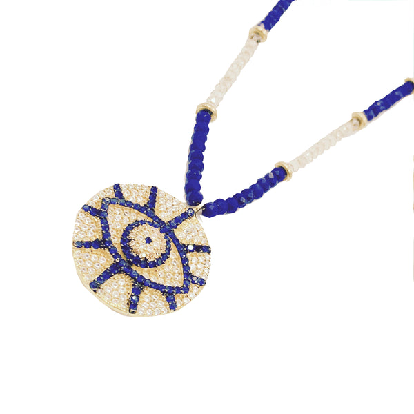 Amy Delson Jewelry Evil Eye Crystal Pendant on Champagne Quartz and Lapis Lazuli Necklace