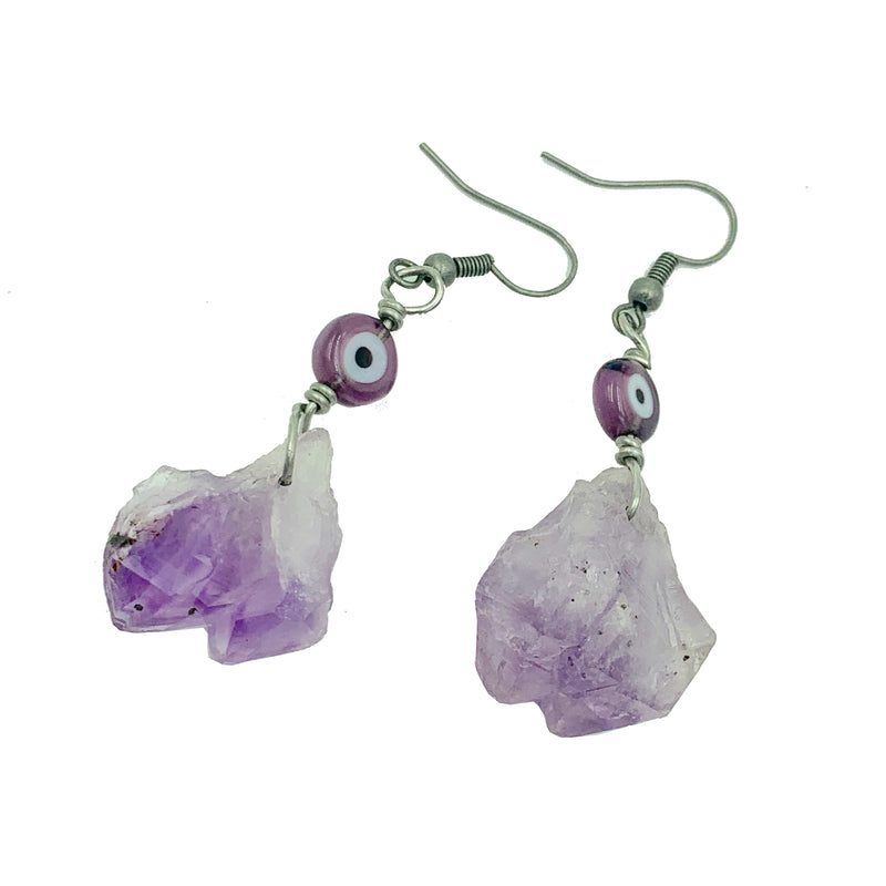 Amy Delson Jewelry Amethyst and Evil Eye Earrings