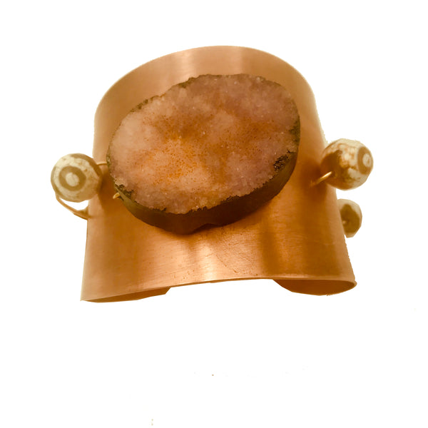 Amy Delson Jewelry Cuff in Copper with Pink Druzy Quartz