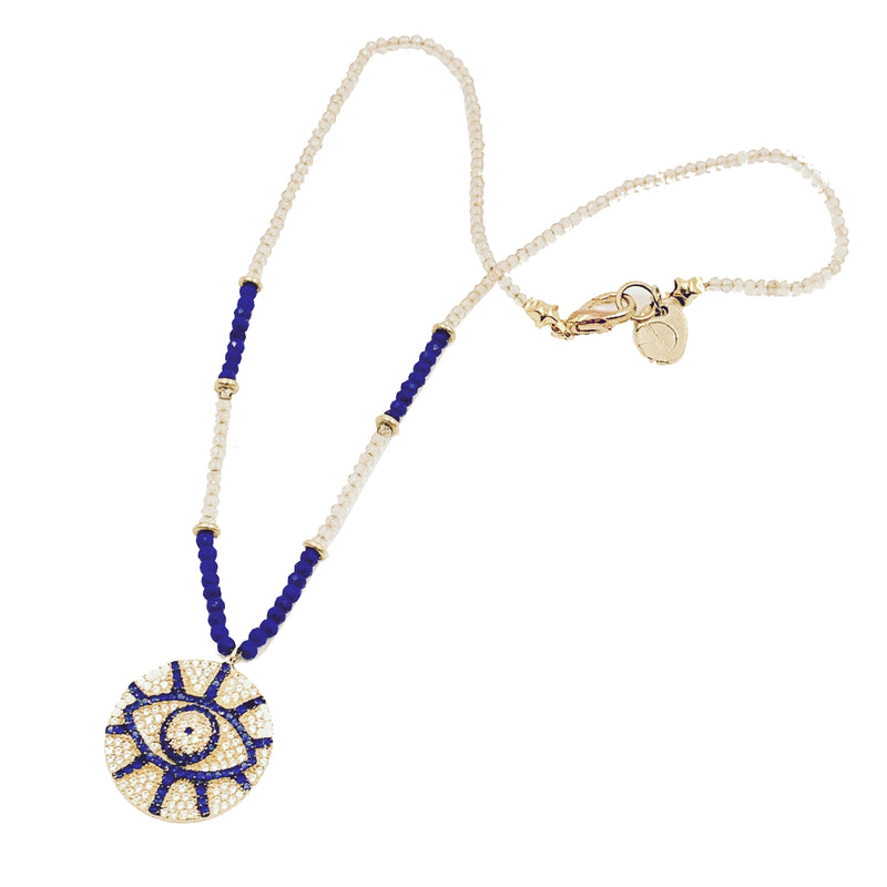 Evil Eye Crystal Pendant on Champagne Quartz and Lapis Lazuli Necklace