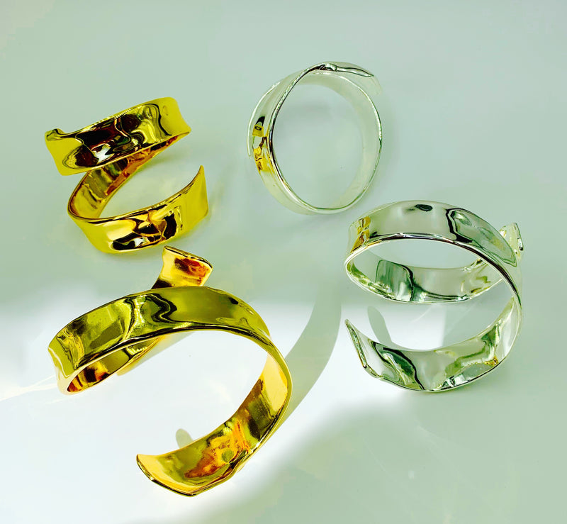 18k Gold and Sterling Silver plated Frida Cuffs by Amy Delson Jewelry