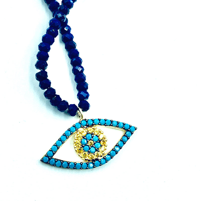 Amy Delson Jewelry Turquoise Eye Lapis Lazuli Necklace