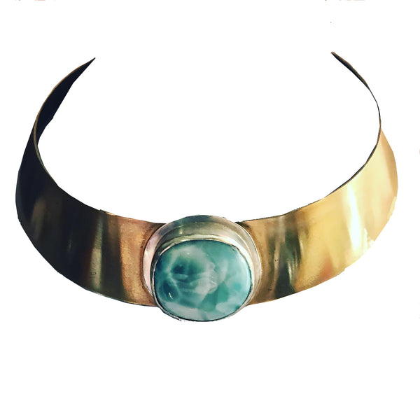 Amy Delson Jewelry larimar set in sterling silver on brass choker