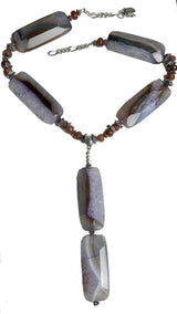 Purple agate rectangular stones Y necklace by Amy Delson Jewelry