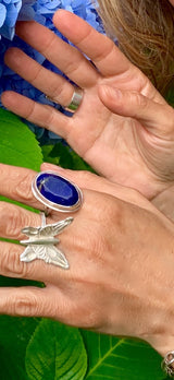 Cindy wears Amy Delson Jewelry Lapis Lazuli and Silver rings