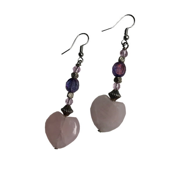 Amy Delson Jewelry Rose Quartz Heart Earrings