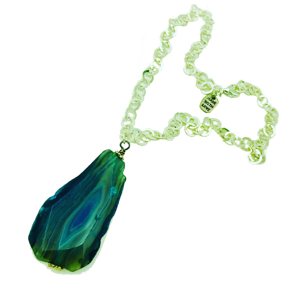 Blue agate necklace by Amy Delson Jewelry