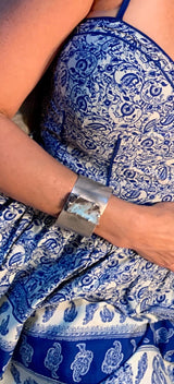 Perfect for sundresses, ADJ sterling silver and larimar cuff
