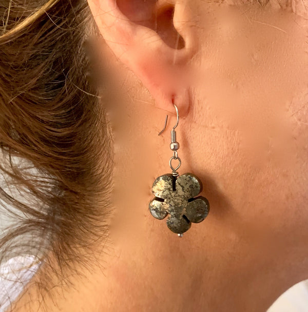 Amy Delson Jewelry Pyrite flower earring