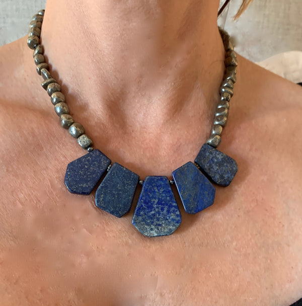 Amy Delson Jewelry Lapis Lazuli Necklace with pyrite