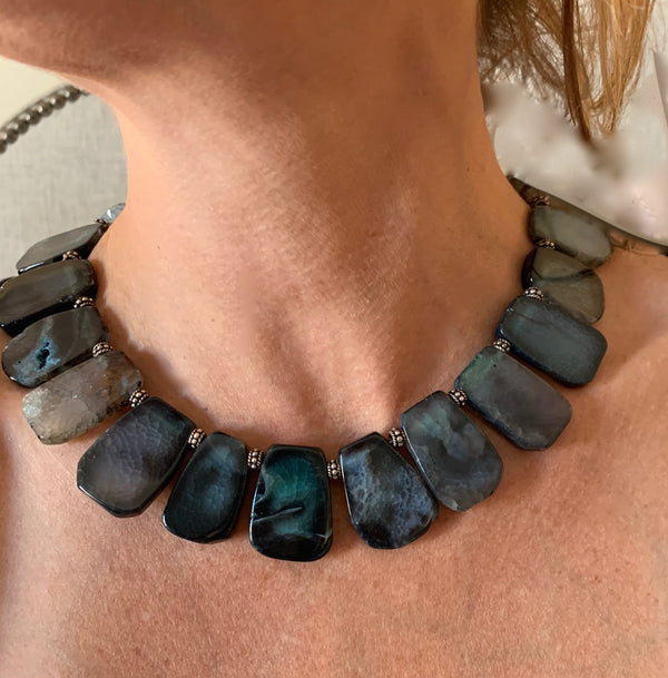 Amy Delson Jewelry Blue Agate Necklace
