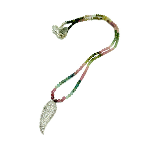 Watermellon tourmaline necklace with crystal wing by Amy Delson Jewelry