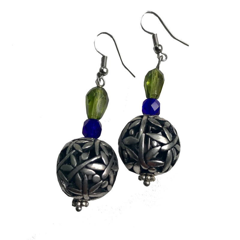 Butterflies dance on silver balls - earrings by Amy Delson Jewelry