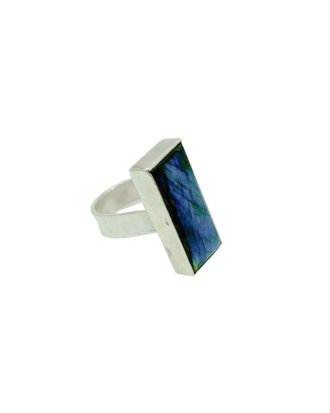 Labradorite stone bezel set in sterling silver ring side view