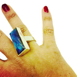 Labradorite rectangular stone bezel set in sterling silver ring shown on the ring finger size 6 by Amy Delson Jewelry