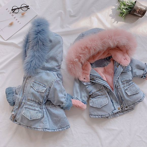 Hooded Denim Faux Fur Fleece Coat - BabyBloomPlace