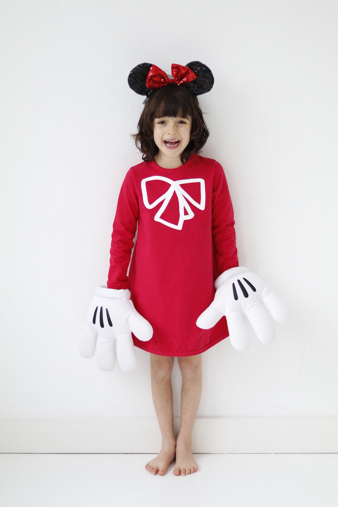 girls dress red organic cotton long sleeve