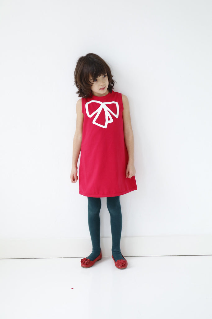 girls dress red organic cotton sleeveless
