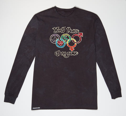 Longsleeve - Black Batik - World Peace