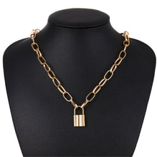 Load image into Gallery viewer, Choker Necklace with Padlock Pendant