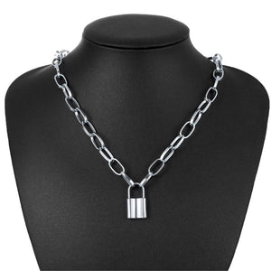 Choker Necklace with Padlock Pendant