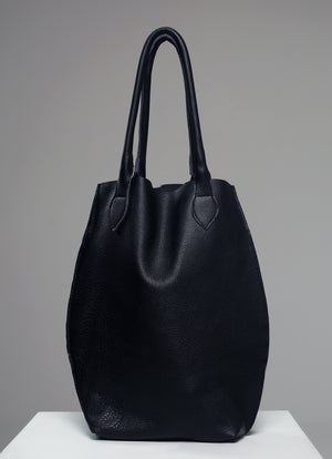 Oversized Leather Shopper Bag in Black